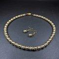 珍珠林~出清品特價中~8m/m琉璃水晶銀灰珍珠項鍊#863(附贈耳環)