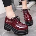 粗跟鞋 厚底鞋漆皮粗跟加絨N518