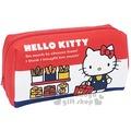 〔小禮堂〕Hello Kitty 全開式化妝包《紅白藍.麵包.提袋.站姿》淺水布材質4930972-43212
