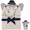 【hella 媽咪寶貝】美國 luvable friends 嬰幼兒動物造型連帽浴巾 灰色大象(LF57052)