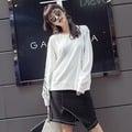 白色S1313 刺繡套頭衛衣 粗拉鏈開叉設計字母英文繡花圓領長袖衛衣女
