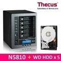 Thecus N5810 網路儲存伺服器,附WD20EFRX 紅標 2TB 3.5吋NAS硬碟(NASware3.0)*5台