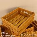 W24~Midori fun 綠的趣味~實木拼條收納盒 木盒/收納箱/木箱/鄉村風/ZAKKA/提把