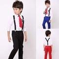 《童伶寶貝》RE022-韓版學院風男童白襯襯衫+背帶長褲套裝(三色)(附領帶或領結)
