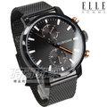 ELLE HOMME 日本機芯 時尚尖端 無時標雙眼米蘭腕錶 男錶 防水手錶 學生 黑x玫瑰金 EH21005B02X