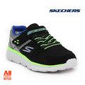 【Skechers】【全方位運動戶外館】童款休閒鞋 GO RUN 400-黑綠色 (97680LBKCC)
