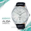CCASIO時計屋 ALBA 雅柏手錶 AS9D41X1 石英男錶 皮革錶帶 銀白 防水50米 日期顯示 全新品 保固一年 開發票