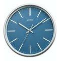 RHYTHM CLOCK 麗聲現代藝術藍面白刻劃滑動式秒針靜音掛鐘 型號:CMG544NR06【神梭鐘錶】