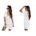 歐美新款熱帶度假性感透明蕾絲大V領短袖沙灘裙比基尼泳裝防曬罩衫 3色 42054