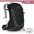 【美國 OSPREY】新款 Stratos 24 透氣立體網架健行背包(防水背包套+水袋隔間+緊急哨)雙肩背包/超輕量抗撕裂尼龍布料 黑 R