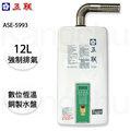 【康廚】五聯牌-ASE-5993☆12公升強制排氣熱水器數位恆溫☆15排火☆銅製大水盤☆含標準安裝