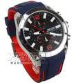 MEGIR 運動風跳色真三眼時尚男錶 防水手錶 日期顯示 學生錶 橡膠錶帶 紅藍x銀x黑 ME2063銀黑