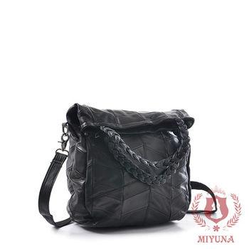 【MIYUNA】韓國時尚拼接全真羊皮包