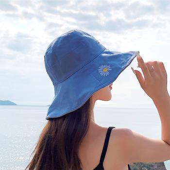【KISSDIAMOND】大帽檐雙面戴任意折繡花遮陽帽(防曬/全防護/好收納/KD-0106)
