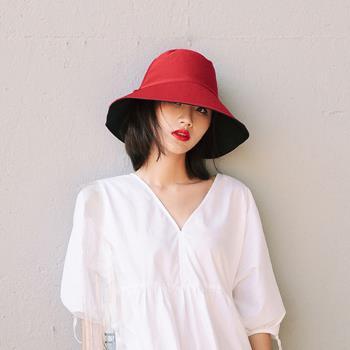【KISSDIAMOND】日系百搭大帽檐雙面戴可收納遮陽帽(漁夫帽/防曬/全防護/好收納/6色可選)