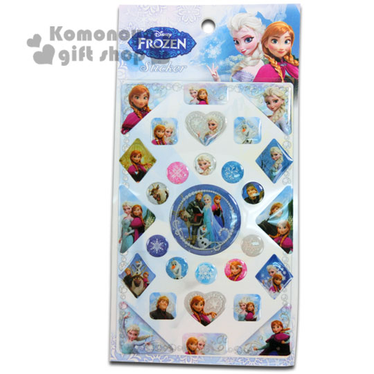 〔小禮堂〕冰雪奇緣 立體貼紙《透明.藍.角色.亮面》可貼信封.裝飾或收藏