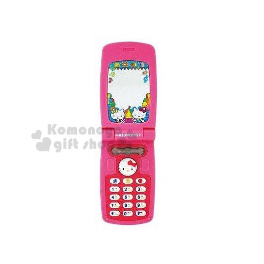 〔小禮堂嬰幼館〕Hello Kitty 聲光手機玩具《粉.蘋果.大臉按鍵.3歲以上》附貼紙吊飾