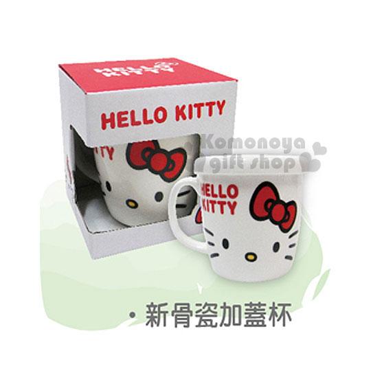 〔小禮堂〕Hello Kitty 新骨瓷附蓋馬克杯《白.大臉.LOGO》容量360ml