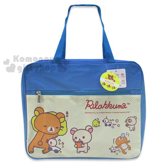 〔小禮堂〕懶懶熊 布質手提袋《藍白.遙控小鴨.朋友.黃點點》也可當補習袋