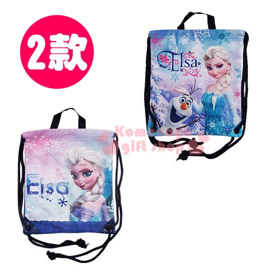 〔小禮堂〕冰雪奇緣 帆布束口後背包《二款選一.藍.Elsa》可提可背