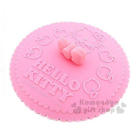 〔小禮堂〕Hello Kitty 矽膠杯蓋《粉.側坐.多蘋果.波浪圓》蝴蝶結造型握把