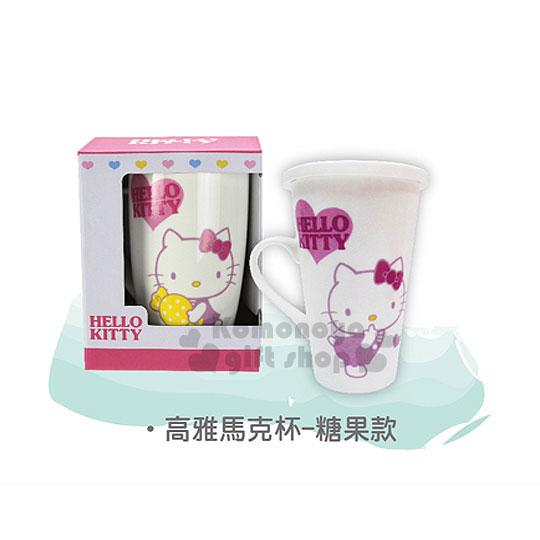 〔小禮堂〕Hello Kitty 新骨瓷附蓋高雅馬克杯《白.坐姿.糖果.愛心》容量510ml