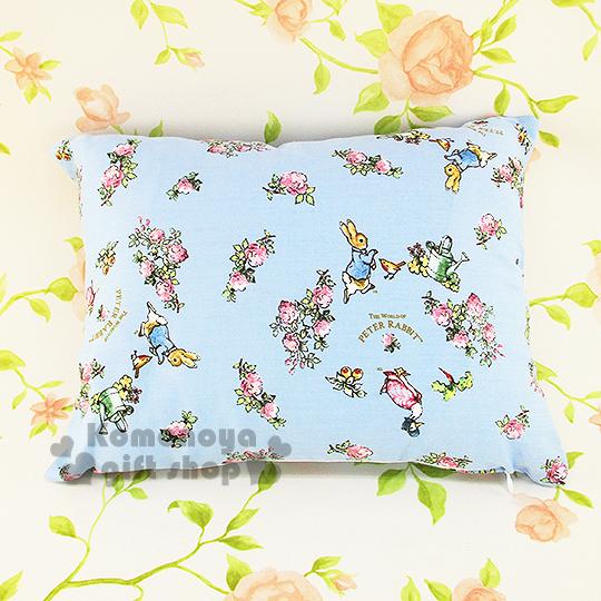 〔小禮堂〕彼得兔 長方型抱枕《小.藍.花朵滿版》可抱.可躺.可靠