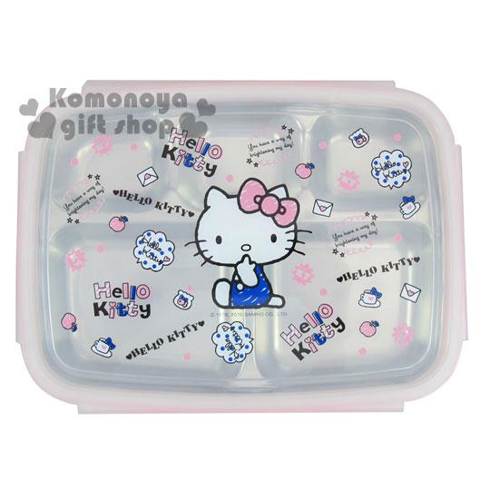 〔小禮堂〕Hello Kitty 不鏽鋼餐盤式便當盒《粉.手繪風.側坐.信封.蘋果.魚缸》