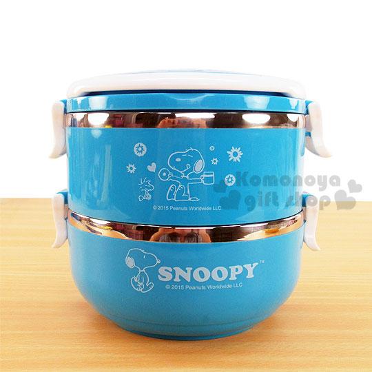 〔小禮堂〕史努比 雙層不鏽鋼便當盒《藍.側坐.雙手張開.糊塗塔克.花》