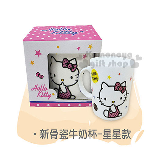 〔小禮堂〕Hello Kitty 新骨瓷牛奶馬克杯《白.側坐.點點蝴蝶結.星星》容量360ml