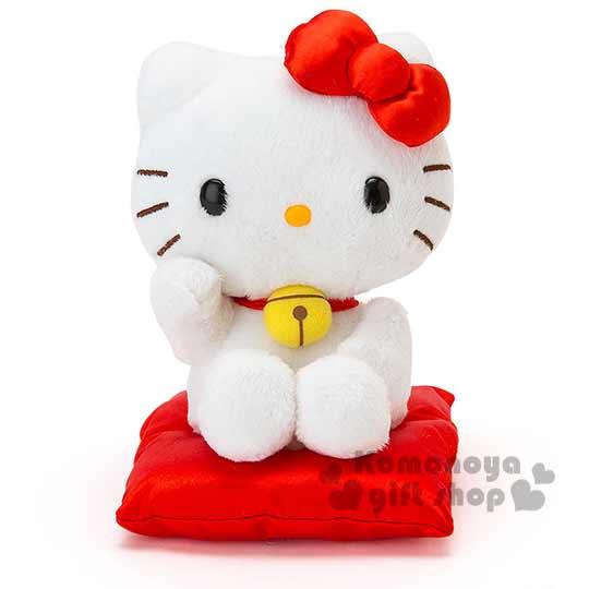 小禮堂 Hello Kitty 造型玩偶娃娃《小.紅.招財貓.坐墊.鈴鐺》金銀財寶滾滾來