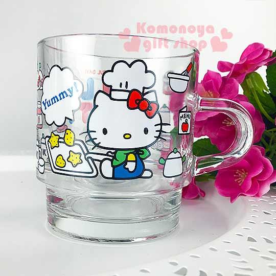 〔小禮堂〕Hello Kitty 玻璃馬克杯《透明.側坐.廚師帽.食物.400ml》