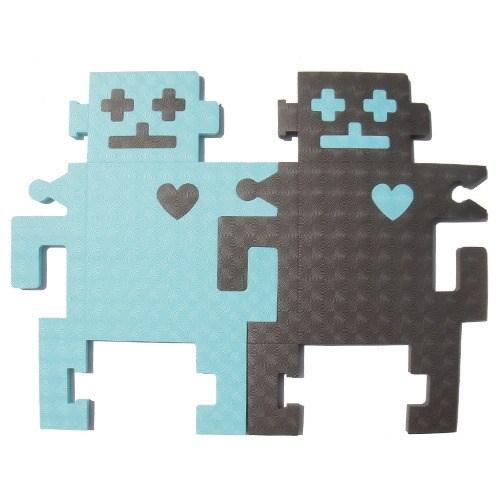 新生活家 機器人雙色地墊組合-鐵灰藍12入