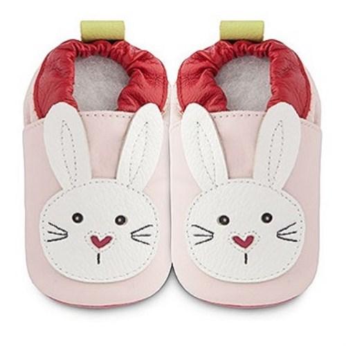 【HELLA 媽咪寶貝】英國 shooshoos 安全無毒真皮手工鞋/學步鞋/嬰兒鞋 淡粉/白色小兔(公司貨)