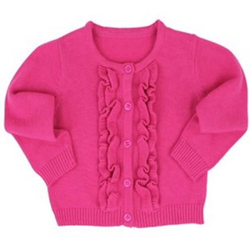 【HELLA 媽咪寶貝】美國 RuffeButts 寶寶/兒童長袖荷葉裝飾小外套 亮麗桃紅 (BRCD03)