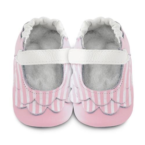 【HELLA 媽咪寶貝】英國 shooshoos 安全無毒真皮手工鞋/學步鞋/嬰兒鞋 淡粉荷葉條紋(公司貨)