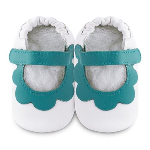 【HELLA 媽咪寶貝】英國 shooshoos 安全無毒真皮手工鞋/學步鞋/嬰兒鞋 白色/薄荷綠荷葉(公司貨)