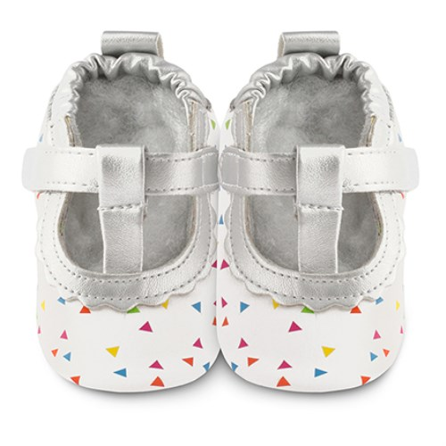 【HELLA 媽咪寶貝】英國 shooshoos 安全無毒真皮手工鞋/學步鞋/嬰兒鞋 銀T字五彩芭蕾 101015 (公司貨)