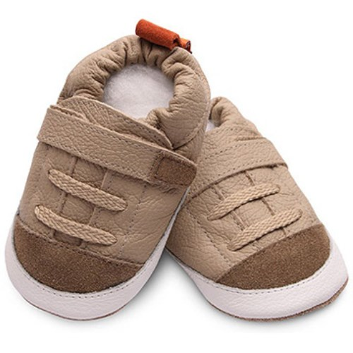 【HELLA 媽咪寶貝】英國 shooshoos 安全無毒真皮手工鞋/學步鞋/嬰兒鞋 優雅卡其色運動型 SBG01 (公司貨)