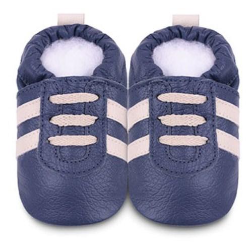 【HELLA 媽咪寶貝】英國 shooshoos 安全無毒真皮手工鞋/學步鞋/嬰兒鞋 海軍藍/米鞋帶運動型 SNV22 (公司貨)