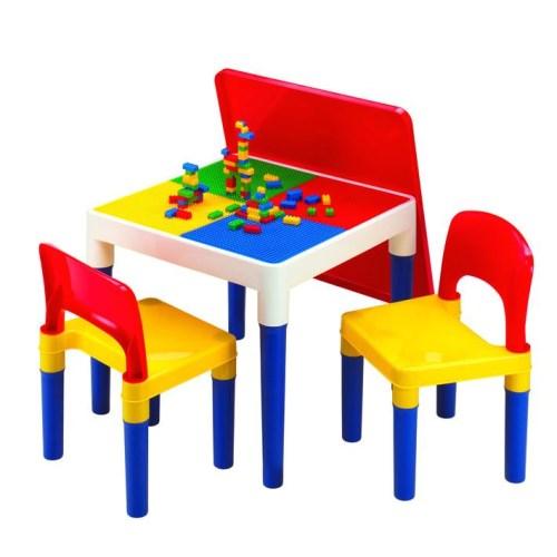 (新鮮品)DELSUN [DELSUN 8601-2]兒童積木桌椅組 塑膠桌椅 原色 DIY 多功能桌椅 台灣製造 安檢 1桌2椅
