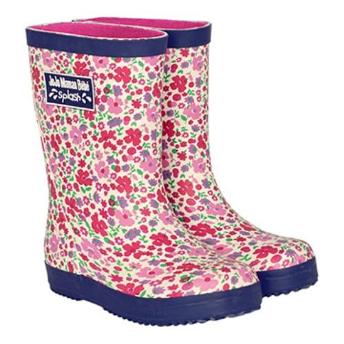【HELLA 媽咪寶貝】英國 JoJo Maman BeBe 嬰幼兒童雨鞋 粉黃花朵(JJWG1-003)