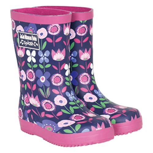 【HELLA 媽咪寶貝】英國 JoJo Maman BeBe 嬰幼兒童雨鞋 粉紫花園(JJWG1-002)