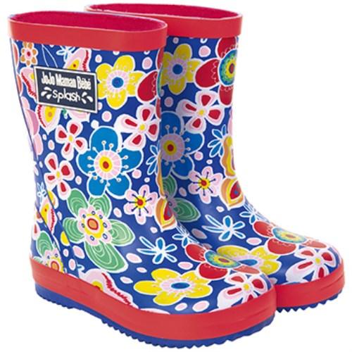 【HELLA 媽咪寶貝】英國 JoJo Maman BeBe 嬰幼兒童雨鞋 繽紛花園(JJWG1-004)