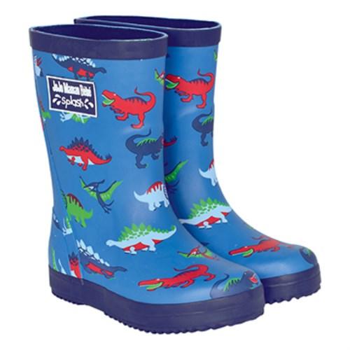 【HELLA 媽咪寶貝】英國 JoJo Maman BeBe 嬰幼兒童雨鞋 水藍恐龍(JJWG1-005)