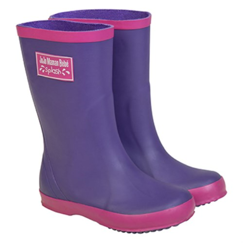 【HELLA 媽咪寶貝】英國 JoJo Maman BeBe 嬰幼兒童雨鞋 紫色(JJWG1-010)