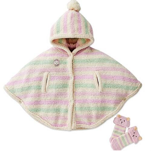【奇哥】柔舒彩條披風+童襪禮盒-粉紅