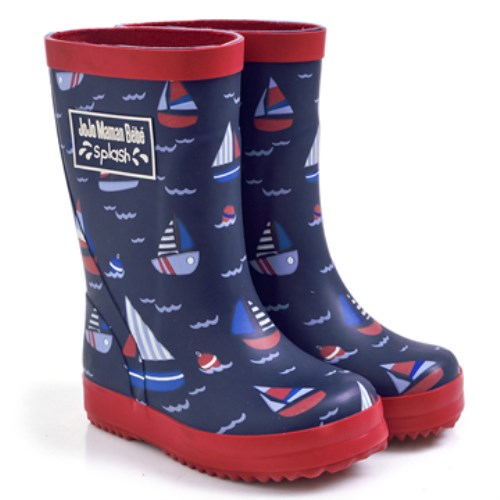 【HELLA 媽咪寶貝】英國 JoJo Maman BeBe 嬰幼兒童雨鞋 乘風破浪(JJWG1-014)