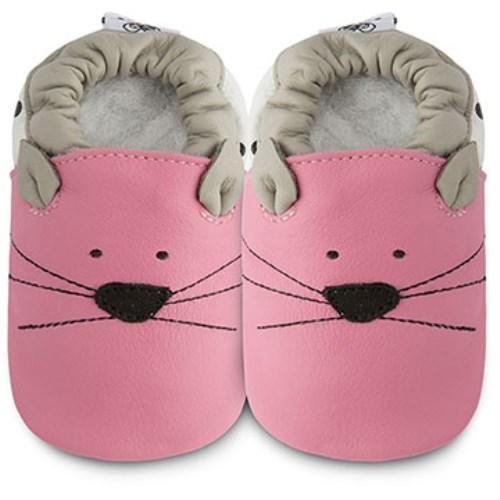 【HELLA 媽咪寶貝】英國 shooshoos 健康無毒真皮手工學步鞋 嬰兒鞋 粉貓咪的臉 102790(公司貨)