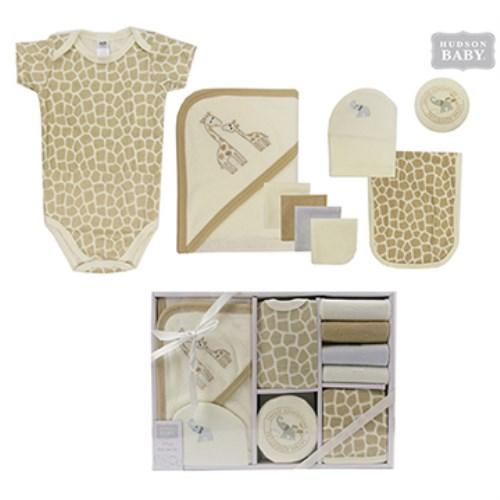 【HELLA 媽咪寶貝】美國 luvable friends 嬰幼兒包屁衣與長褲9入禮盒組 長頸鹿(LF58129)